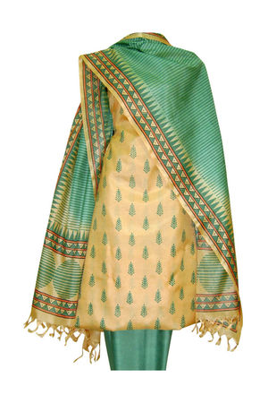 Tussar Silk Suit Block Printed In Green Shade _6