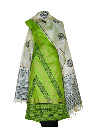 Tussar Silk Suit Block Printed In Green Shade _8