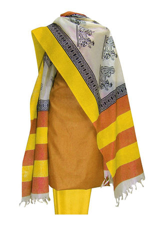 Tussar Silk Suit with Printed Dupatta