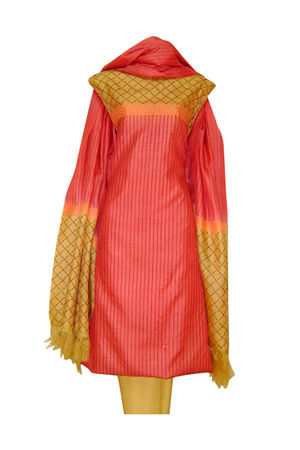 Pure Tussar Silk Suit in Pinkish Peach Color_15
