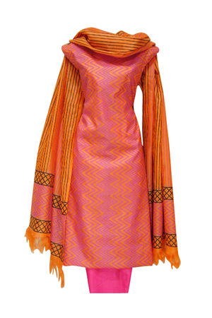 Pure Tussar Silk Suit in Pinkish Peach Color_17