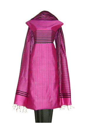 Pure Tussar Silk Suit in Pink Color_33