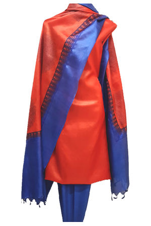 Tussar Silk Suit with Printed Dupatta Red_Blue