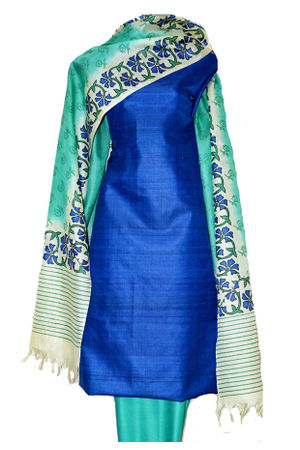 Printed Tussar Silk Suit Material Blue12