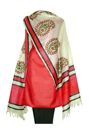 Tussar Silk Suit in Red Shade_10