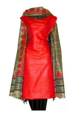 Tussar Silk Suit in Red Shade_11