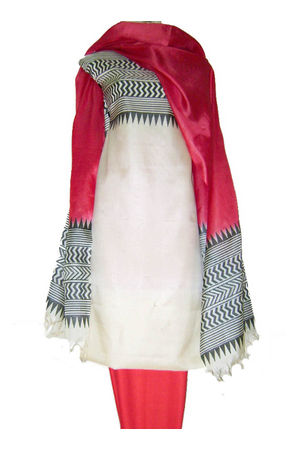 Tussar Silk Suit in Red Shade with White