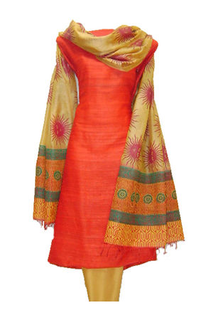 Tussar Silk Suit in Red Shade_4