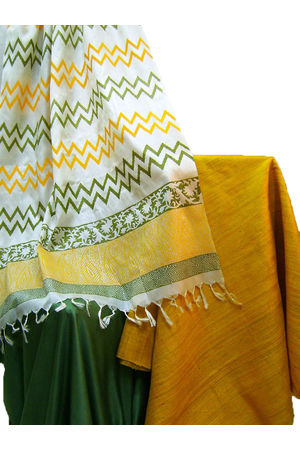 Tussar Silk Salwar Kameez in Mustard Yellow and Green