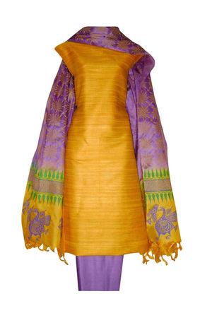 Tussar Silk Salwar Kameez Yellow_19