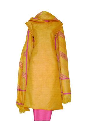 Tussar Silk Salwar Kameez Yellow_8