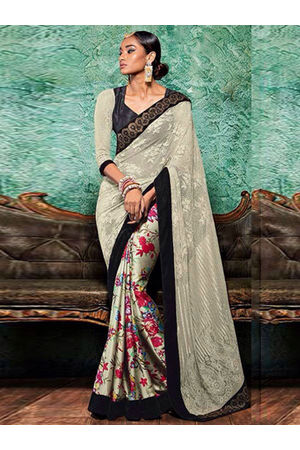 Floral Printed Crepe Saree in Ivory with Multi Color Range