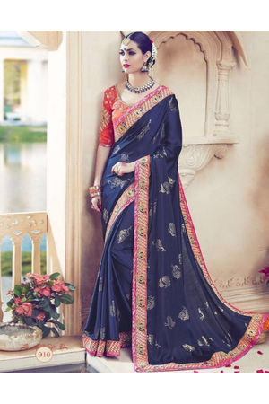 Designer Wedding saree in Blue Color_10