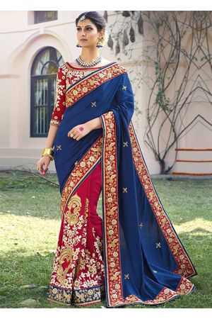 Designer Wedding saree in Blue Color_2