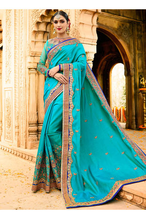 Designer Wedding saree in Blue Color_6