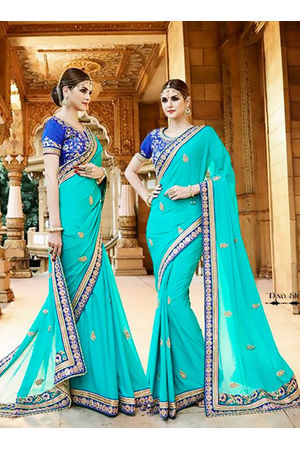 Designer Wedding saree in Blue Color_8