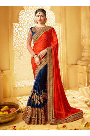 Designer Wedding saree in Blue Color_9