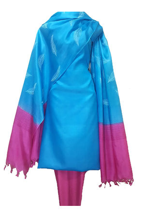 Pure Tussar Silk Material  in Blue Pink Color