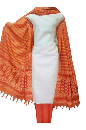 Pure Tussar Silk Material  in Orange-White  Color