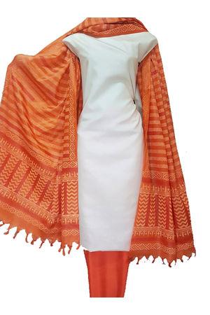 Pure Tussar Silk Material  in Orange-White  Color