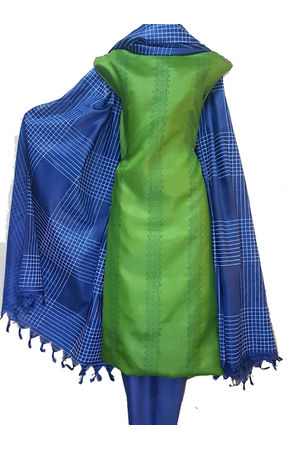 Block Printed Pure Tussar Silk Material in Green Blue Combination