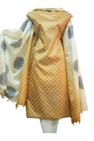 Block Printed Pure Tussar Silk Material in Brown Beige combination