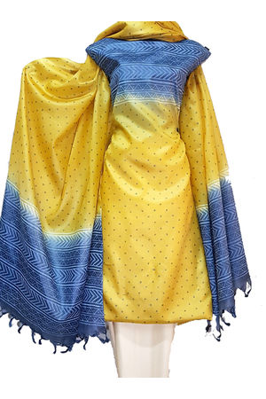 Tussar Silk Suit in Yellow and Blue Colour