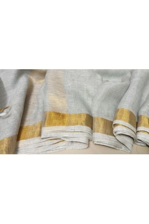 Dee's Alley  Pure Linen Silk Saree with  Zari Border