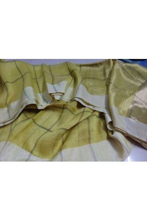 Dee's Alley  Pure Linen Silk Saree with Silver Zari Border