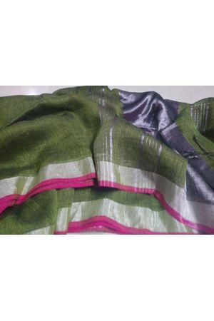 Dee's Alley  Pure Linen Silk Saree with  Zari Border in Green