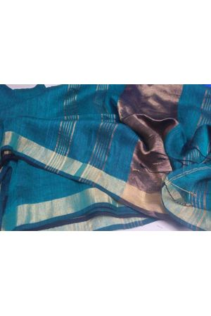 Dee's Alley  Pure Linen Silk Saree with  Zari Border in Blue