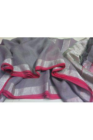 Dee's Alley  Pure Linen Silk Saree with  Zari Border in Ash Grey