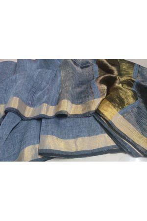 Dee's Alley  Pure Linen Silk Saree with  Zari Border _9