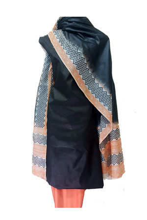 Pure Tussar Silk Material with Block Printed Dupatta in Black Color