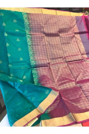 Dee's Alley Green Color Pure Kanjeevaram Silk Saree - 100% Pure Silk