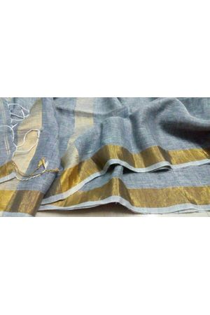 Grey Color Pure Linen Silk Saree with  Golden Zari Border