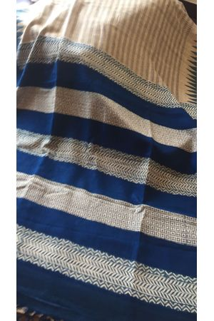 Dee's Alley Blue Block Printed Tussar Silk Saree