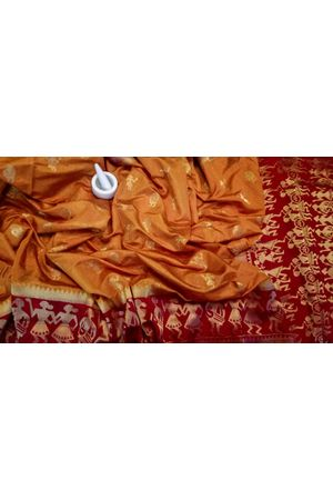 Mustard Yellow Color Banarasi Silk Saree with Contrast Border