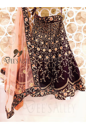 Wine Color  Velvet Designer Lehenga with Hand work Embroidery