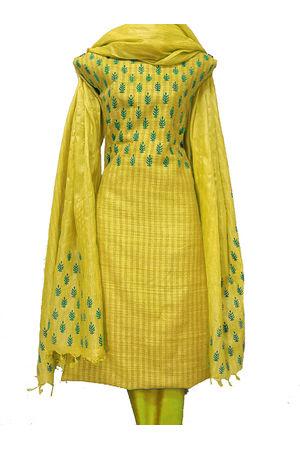 Block Printed Pure Tussar Silk Material in Yellow
