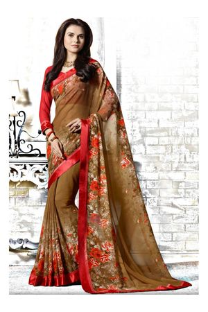 Casual brown printed Georgette Saree