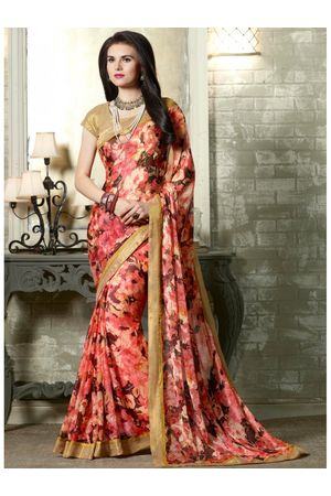 Peach printed Georgette Saree
