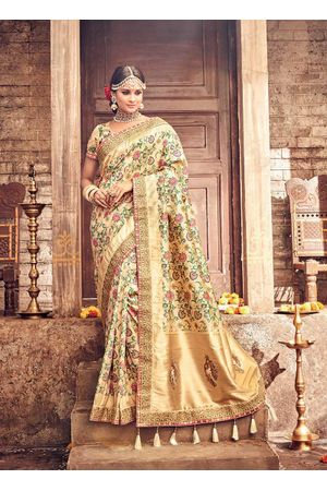 Banarasi Silk Saree with Meenakari weave in Beige Color
