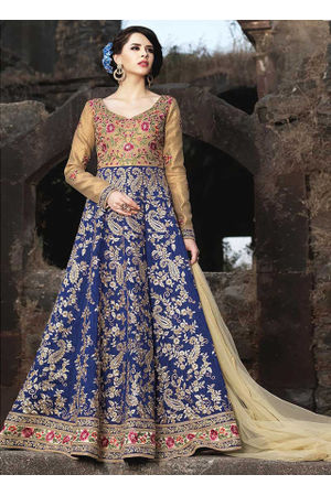Beige and Blue Art Silk anarkali suit