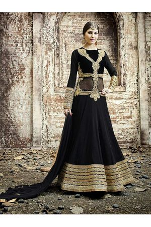 Heavy Black Anarkali Dress with Zari and Embroidery Work