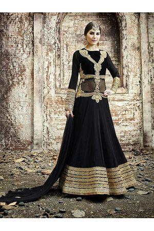 Heavy Black Anarkali Dress with Zari and Embroidery Work