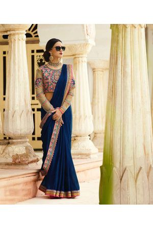 Dark Blue Art Silk Designer Saree with Heavy Embroidered Blouse