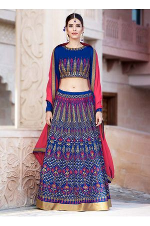 Dee's Alley Blue Art Silk Party Wear  Lehenga