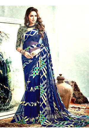 Printed Georgette Saree in Blue