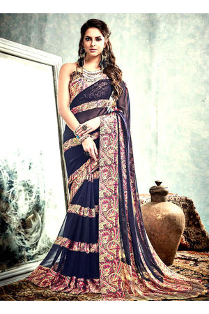 Printed Georgette Saree in  Blue _1